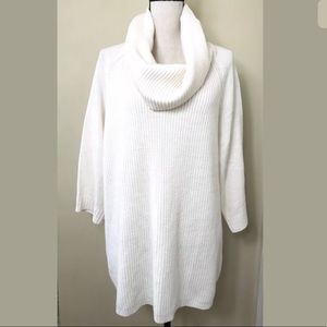 Avenue Ivory Cowl Neck Cable Knit Tunic Sweater